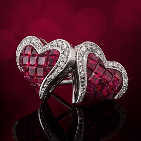 14K White Gold Ruby & Diamond Heart Earrings