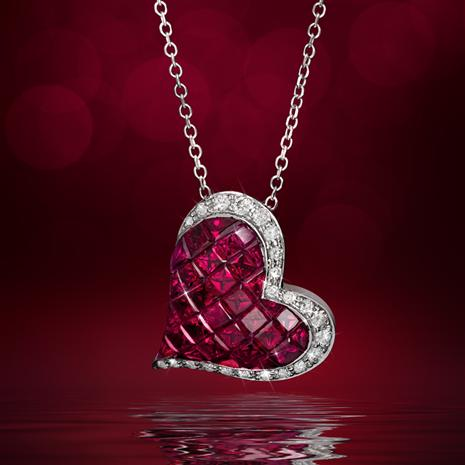 14K White Gold Ruby & Diamond Heart Necklace