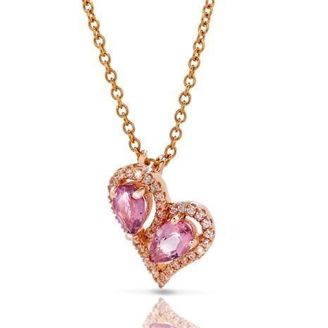 Pink Tourmaline Heart to Heart Pendant