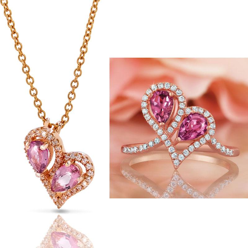 Pink Tourmaline Heart to Heart Collection