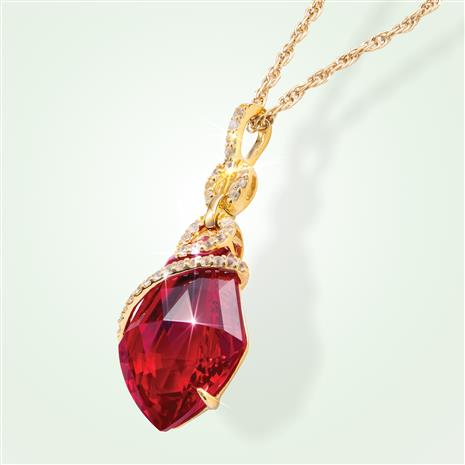 Fancy Cut Red Helenite and White Topaz Necklace