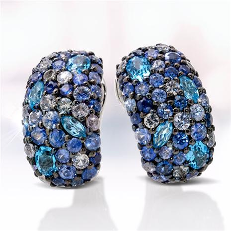 Sterling Silver Sapphire & Blue Topaz Earrings