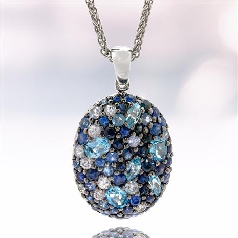 Sterling Silver Sapphire & Blue Topaz Necklace