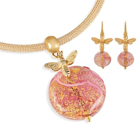 Fascino Murano Rosa Pendant, Chain & Earrings