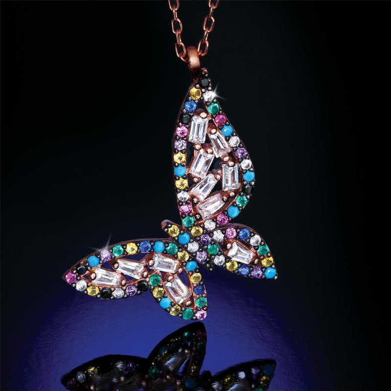Rainbow Butterfly Pendant and Chain