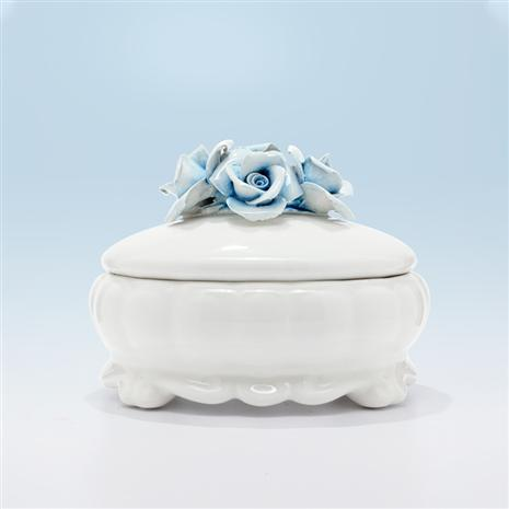 Rose Blu Capodimonte Oval Box