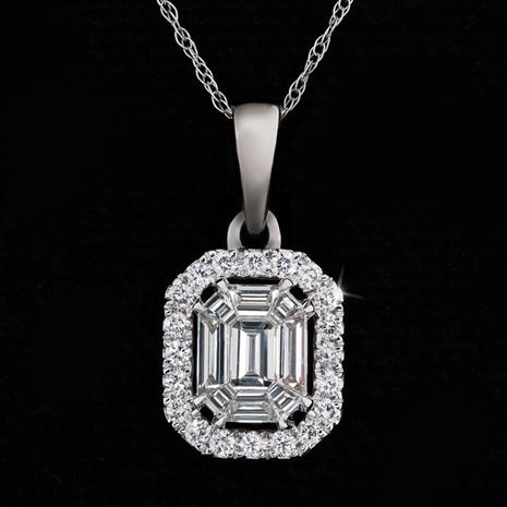 14K White Gold Elevated Halo Diamond Necklace