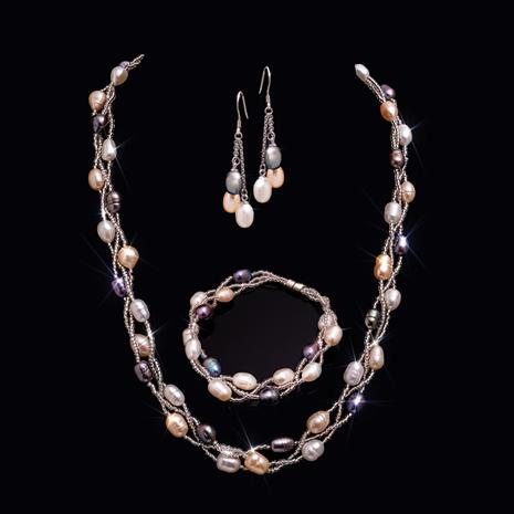 Pearl Trifecta Necklace, Bracelet & Earrings Set