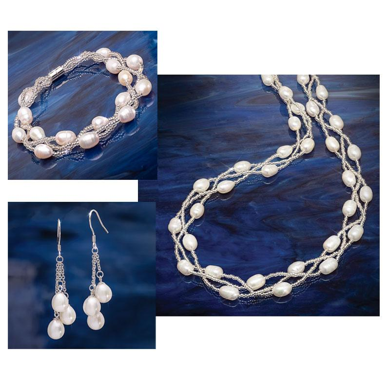 Pearl Radiance Necklace, Earrings and Bracelet