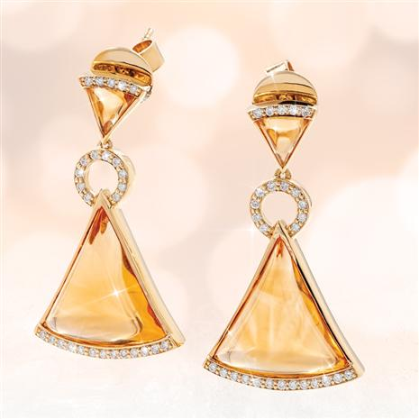 Fancy Citrine & White Sapphire Trillion Earrings