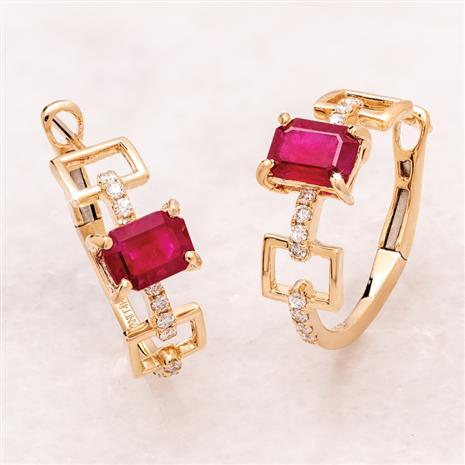 14K Gold Emerald-Cut Ruby Earrings