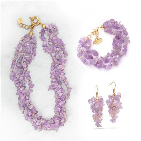 Amethyst Breeze Necklace, Bracelet & Earrings