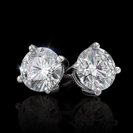 Moissanite Solitaire Earrings (2 ctw.)