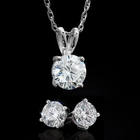 Moissanite Solitaire Pendant, Chain & Earrings