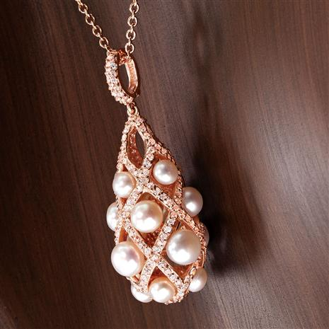 Lattice Freshwater Pearl Pendant and Chain