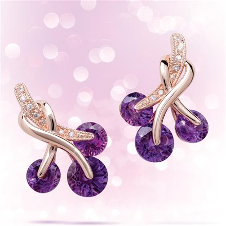 14K Rose Gold Amethyst & Diamond Earrings  3-1/6 ctw