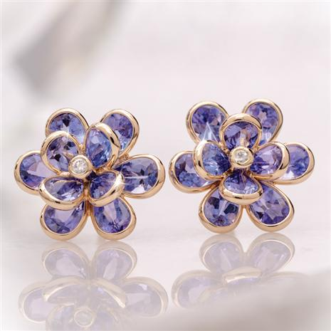 14K Gold Tanzanite Flower Earrings