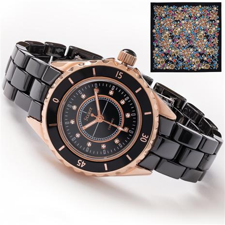 "Ladies Classic Black Ceramic Watch plus FREE 34"" x 34"" Italian Scarf"