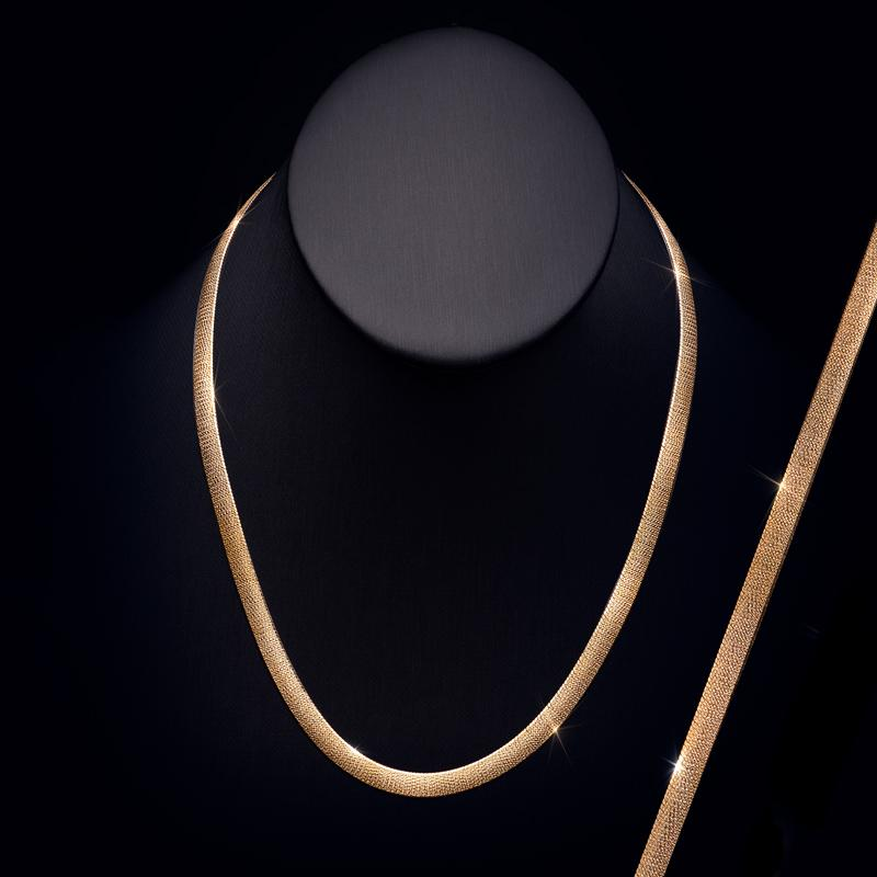 Herringbone Necklace (14K Yellow Gold-Finished Sterling Silver)