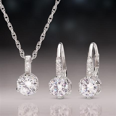 Solitaire Sensation Pendant And Earrings