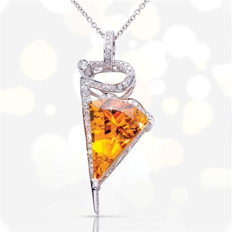 14K White Gold Citrine Necklace (8.98 ctw)