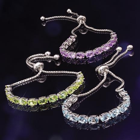 Sterling Silver Gemstone Bolo Bracelet Collection