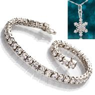 Sterling Silver Classique Tennis Bracelet with Free Snowflake Necklace