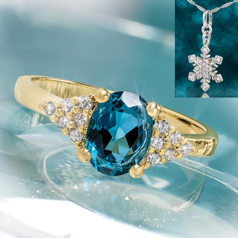 London Blue Topaz Decadence Ring with Free Snowflake Necklace
