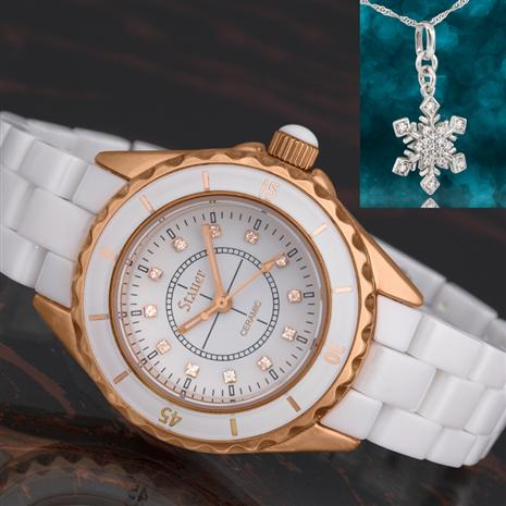 Ladies Elegante Ceramic Watch with Free Snowflake Necklace