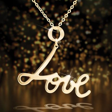 14K Gold Love Pendant & Chain