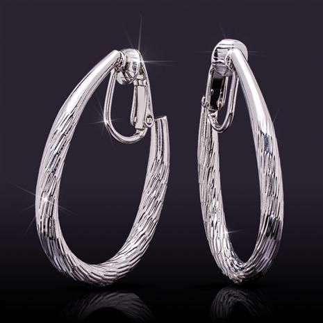 Clip-On Rhodium-Finished Hoop