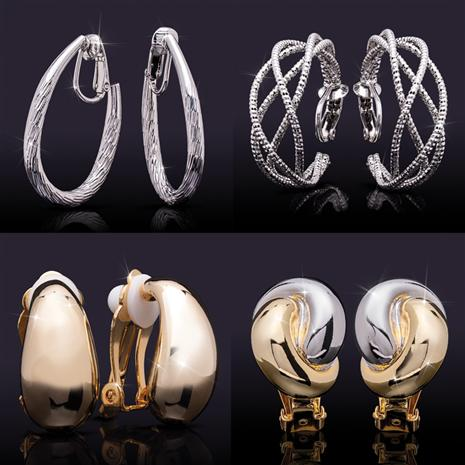 Clip-On Earrings Collection (Set of all four styles)
