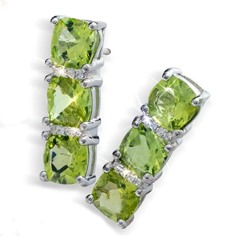 Verdant Peridot Three Stone Earrings