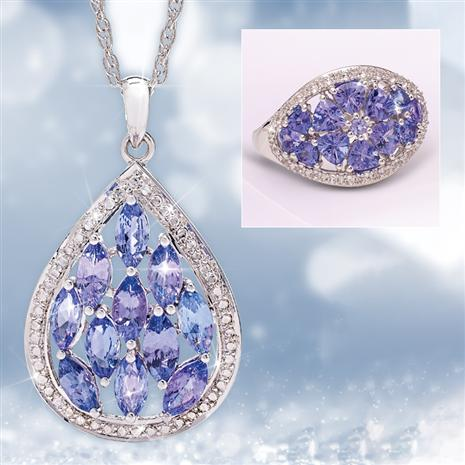 Tanzanite Celebration Pendant, Chain and Ring Set