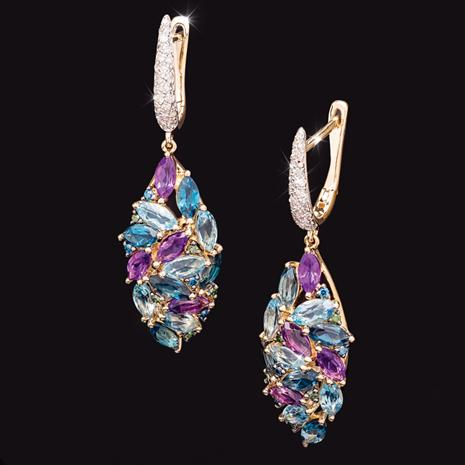 14K Yellow Gold Mixed Gem Marquise Earrings