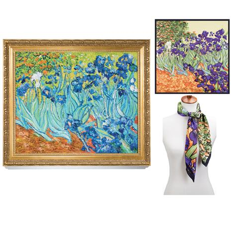 Irises by Vincent Van Gogh Plus Free Silk Scarf