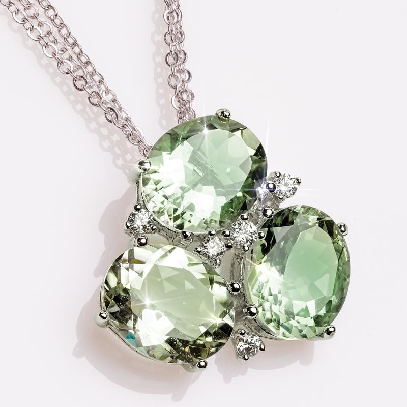 Green Amethyst Trifecta Pendant & 3-Strand Sterling Silver Cable Chain