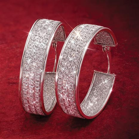 Rhodium-Finished Sterling Silver Sparkle Hoops