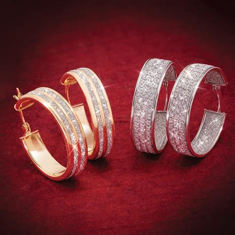 Gold-Finished & Rhodium-Finished Sterling Silver Sparkle Hoops