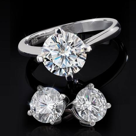 Moisante Solitaire Ring and Earrings (4 ctw)