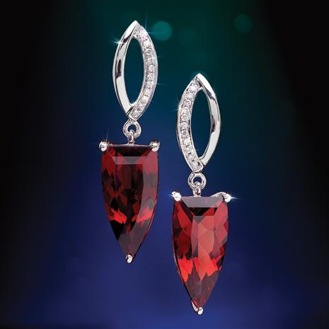 14K White Gold Red Garnet & Diamond Arrow Earrings