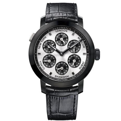 Swiss-made 7 Time Zones Watch (Black Leather with Black Finish)