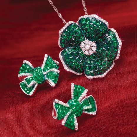 Emerald Green Flower & Bow Set