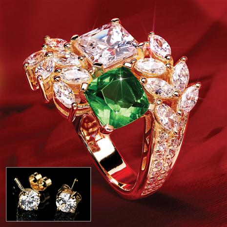 Ring of Camelot PLUS FREE 1 ctw Stud Earrings