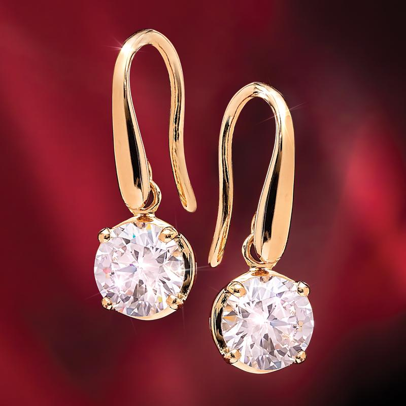 Yellow Gold-Finished Sterling Silver Sparkle Fusion Earrings