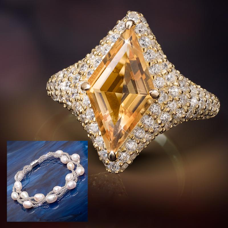 Supernova Citrine Ring PLUS FREE Pearl Radiance Bracelet