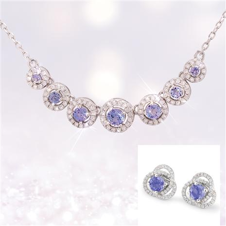 Tanzanite Heavenly Halo Necklace & Earrings with Earring Jackets