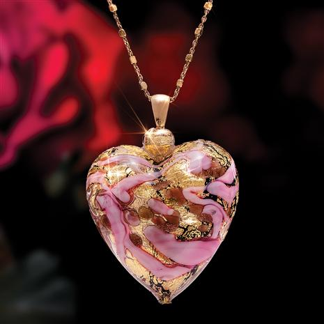 "Cuore D'Amore Murano Pendant & Italian 18"" Gold-finished Sterling Silver Chain"