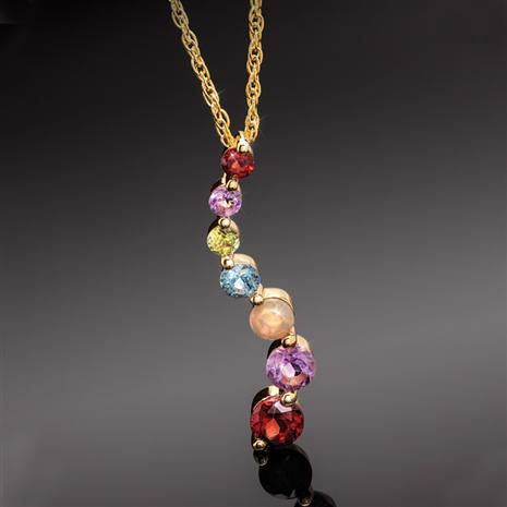 "18"" Gemstone Rainbow Necklace"