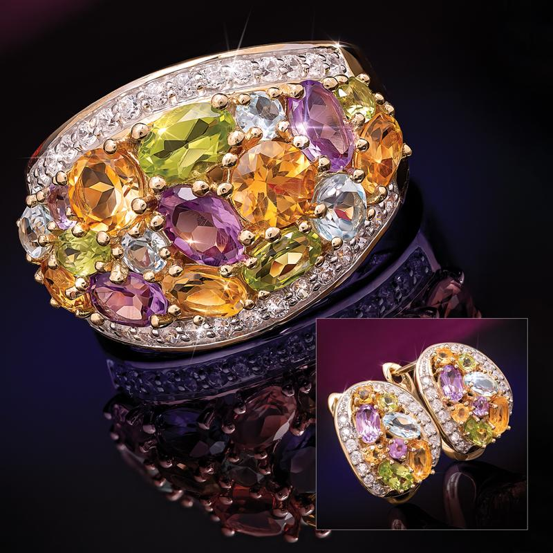 Mixed Gems Ring and Earrings